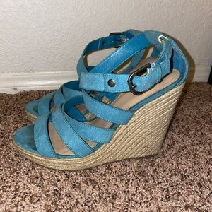 Blue strappy wedges from target